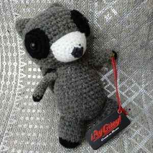 NWT Ay Guey! Knitted Racoon Collectible
